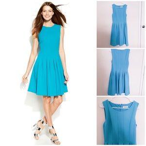 Calvin Klein Sleeveless Seamed Pleated Dress